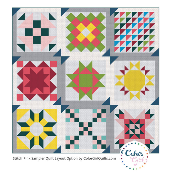 sewing sampler quilt blocks together in creative setting by Color girl Quilts