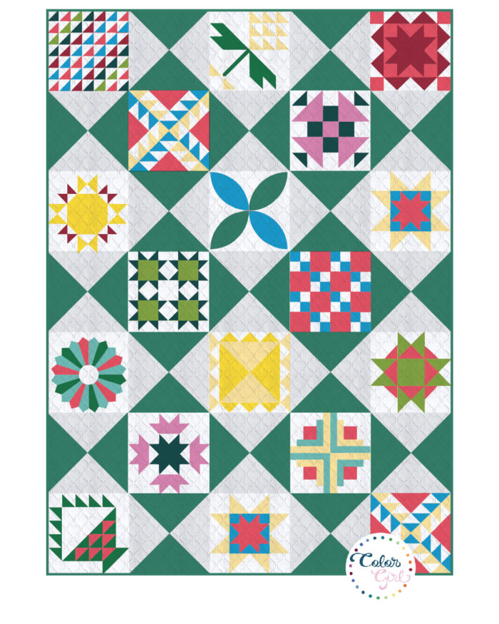 Sampler quilt block layout design pattern by Color Girl Quilts