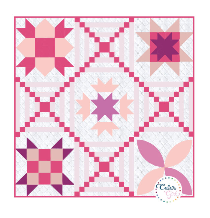 Stitch Pink sampler free quilt pattern with Color girl Quilts