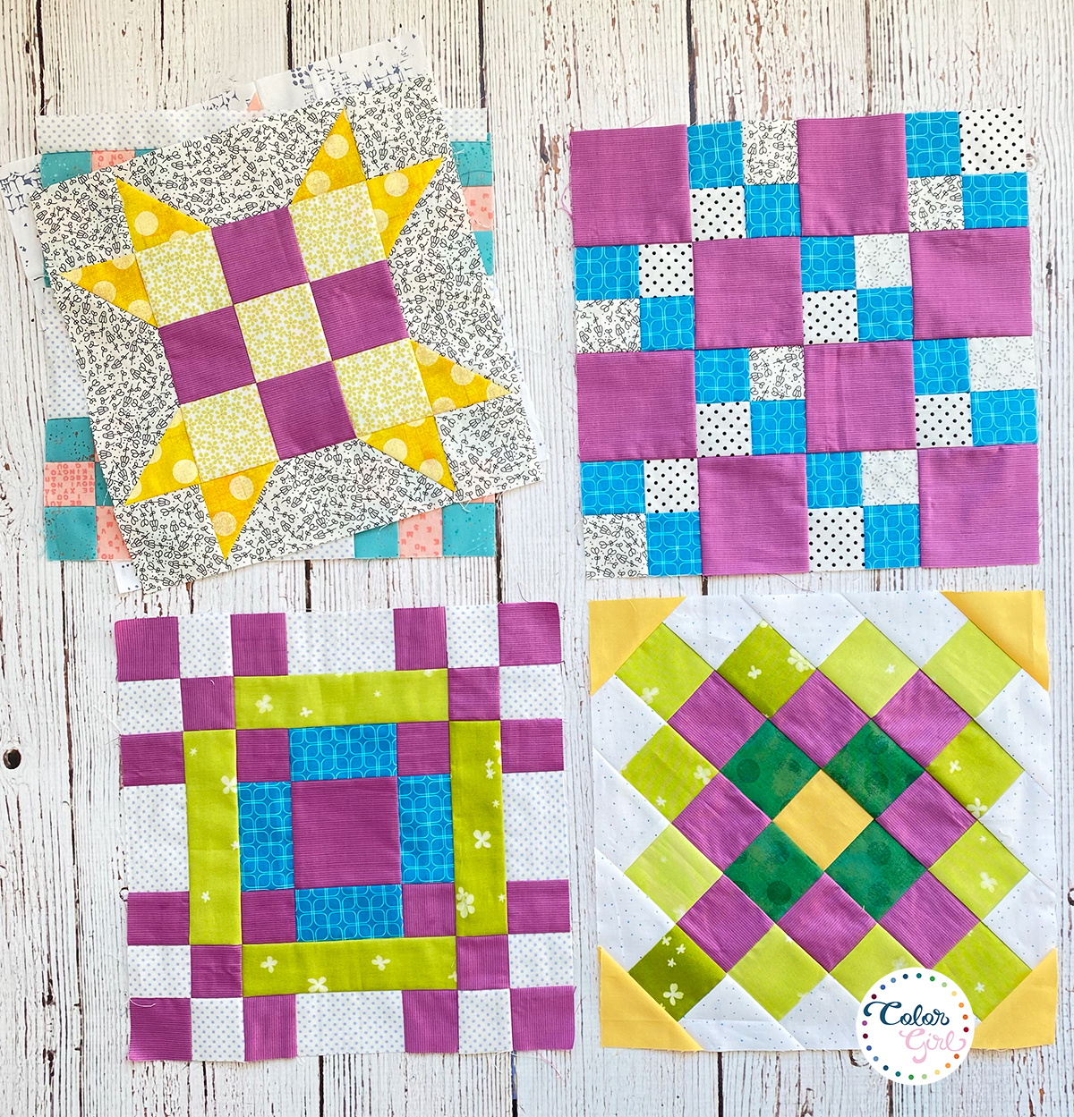 Stitch Pink sampler quilt blocks free pattern with Color Girl Quilts