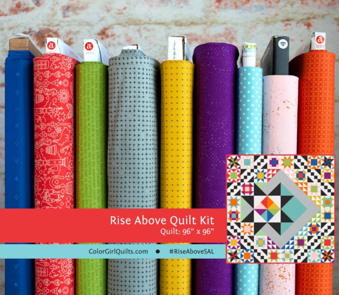 Rise above quilt along with Color Girl Quilts, virtual quilting workshop on video