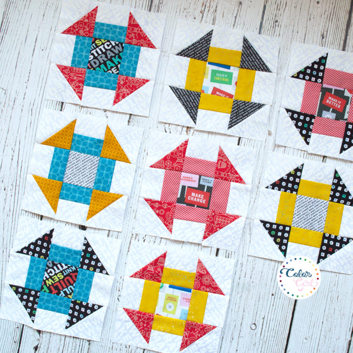 churn dash quilt blocks for Rise Above quilt by Color girl quilts