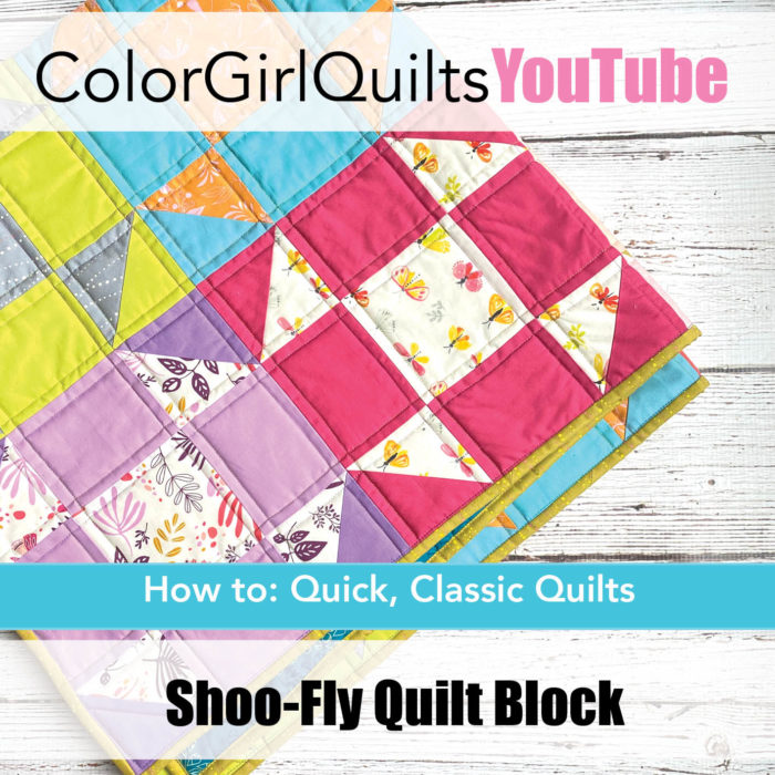 Shoo fly quilt block tutorial video by Color Girl Quilts