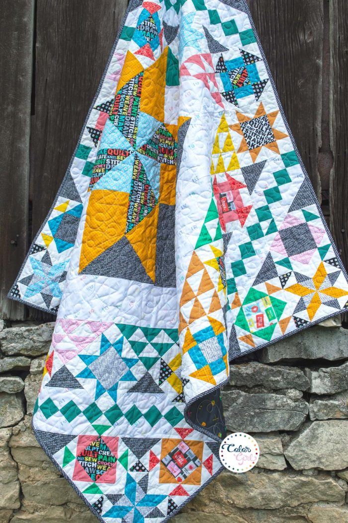 rise above quilt pattern, finished quilt, quilt along, video quilting workshop by Color girl quilts